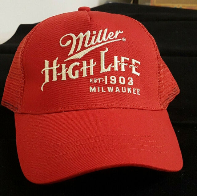 244a28c6 MILLER HIGH LIFE Est. 1903 Milwaukee. Embroidered Mesh Hat/Cap Adjustable  NWT