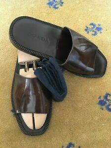 Sandali-da-uomo-PRADA-Flip-Flop-Thongs-Marrone-Pelle-Scarpe-UK-8-5-US-9-5-EU-42-5