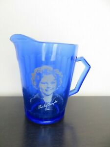 VTG-Mid-Century-Hazel-Atlas-Cobalt-Blue-Shirley-Temple-Milk-Creamer-Pitcher