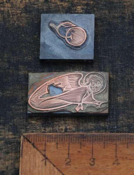 2 X Galvano Druckplatte Klischee Eichenberg Printing Plate Copper Schutzengel GüNstige VerkäUfe