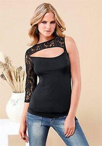 Damen-Shirt-mit-Spitze-Netz-Sexy-Top-Bluse-schwarz-Gr-32-34-Figurbetont-023
