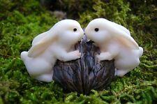 Rabbits Kissing on Walnut Dollhouse Miniature Fairy  Garden Bunny Rabbit  # 4149
