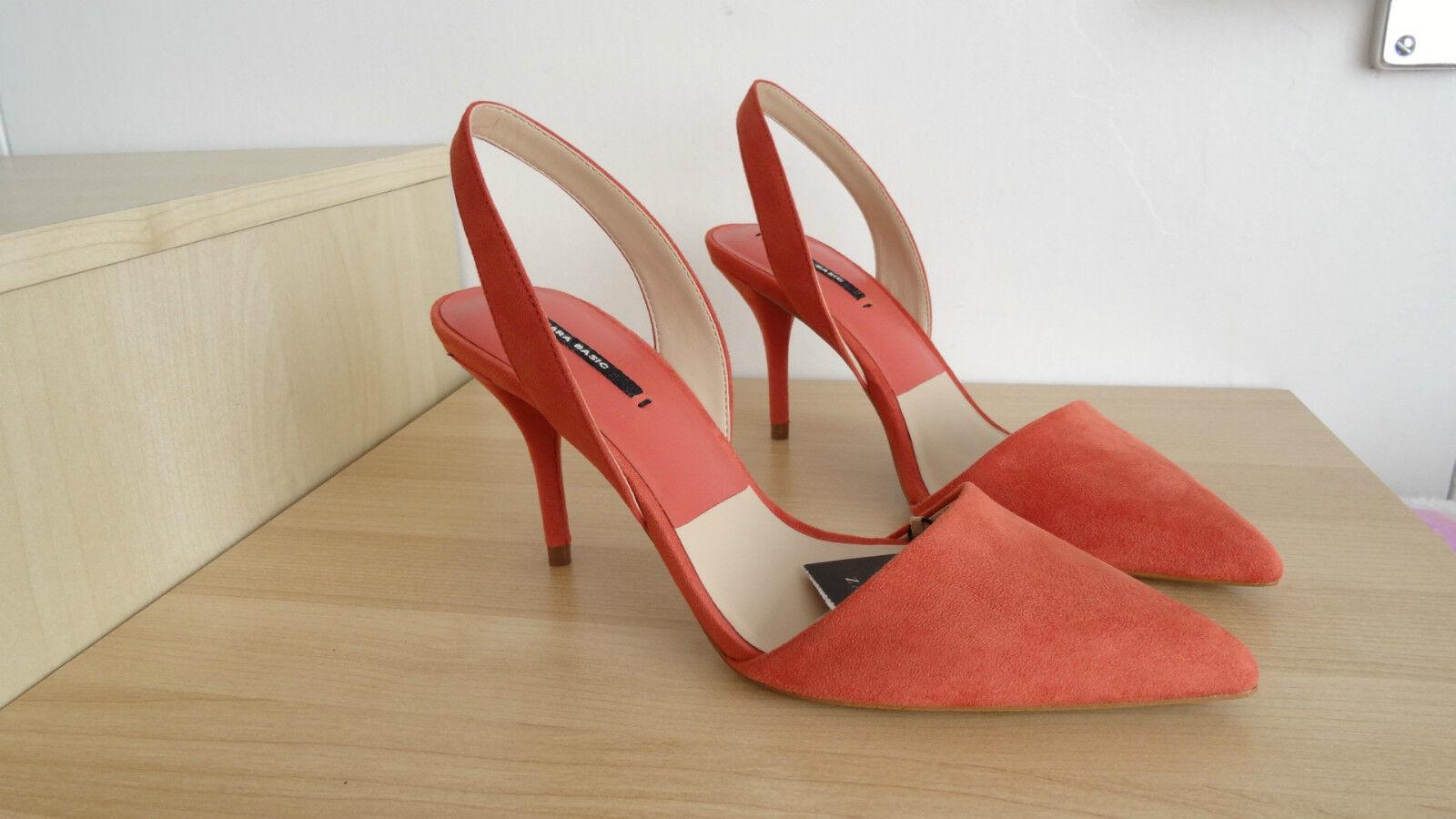 c9ede4df Zara Color Melocotón señaló Slingback Zapatos Taco Alto Talla UE 38 EE. UU.  7