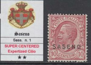 ITALY-SASENO-n-1-cv-360-MNH-Expertized-Cilio-SUPER-CENTERED