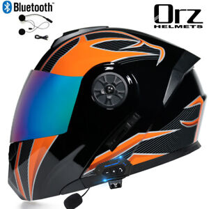 Bluetooth Headset Motorcycle Helmet Full Face Dual Visor Modular Flip Up Helmet