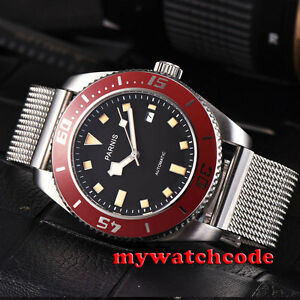 43mm-PARNIS-black-dial-red-bezel-sapphire-glass-automatic-mens-wrist-watch-P591