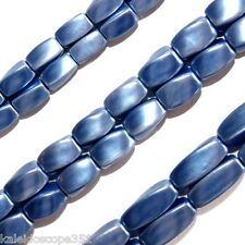 MAGNETIC HEMATITE BEADS PEARLIZED PERIWINKLE BLUE TWIST 4X7MM P24A TWISTS
