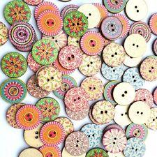 50Pcs Redondos Botones de madera costura Artesanía Buttons  Scrapbooking