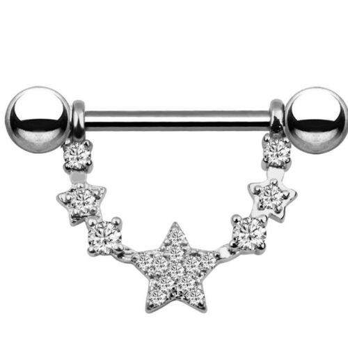 Crystal Star Ball Tongue Nipple Barbell Rings Bars Body Jewelry Piercing 14G P0