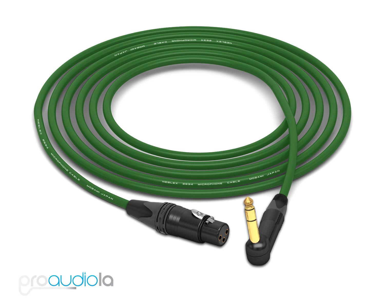 Mogami 2534 Quad Cable   Neutrik Gold 90º TRS to XLR-Female   Grün 30 Feet 30'
