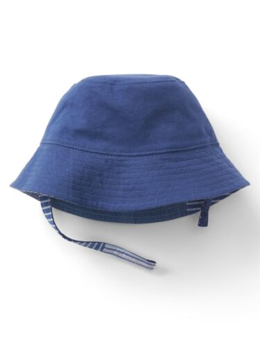 GAP Baby Boys Size 0-6 Months Blue / Chambray Patchwork Reversible Bucket Hat