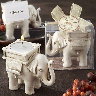 Cute Elephant Tea Light Candle Holder Ivory Ceramic Home Decor Bridal Wedding
