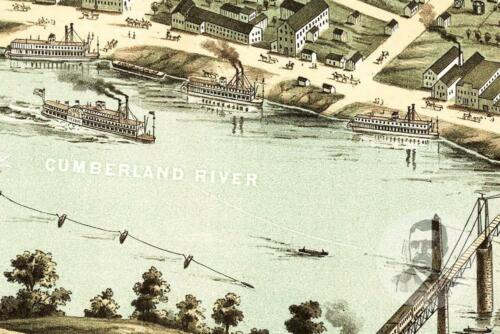 TN Map 1870 Historic Tennessee Art Victorian Industrial Vintage Clarksville