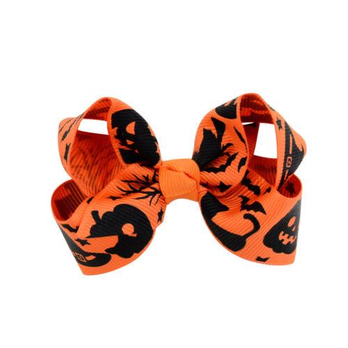 ^2Pcs Halloween Children Hairpin Bow Cartoon Kids Hair Clip Hair Accessories