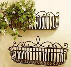 Image Is Loading Garden Balcony Wrought Iron Wall Mount Flower Pot