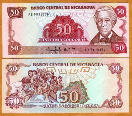 P-153 50 Cordobas UNC 1985 Nicaragua 1988