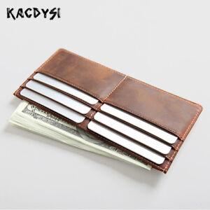 Vintage-Genuine-Leather-Long-Slim-Men-Wallets-Women-Money-Clips-Credit-Card-Case