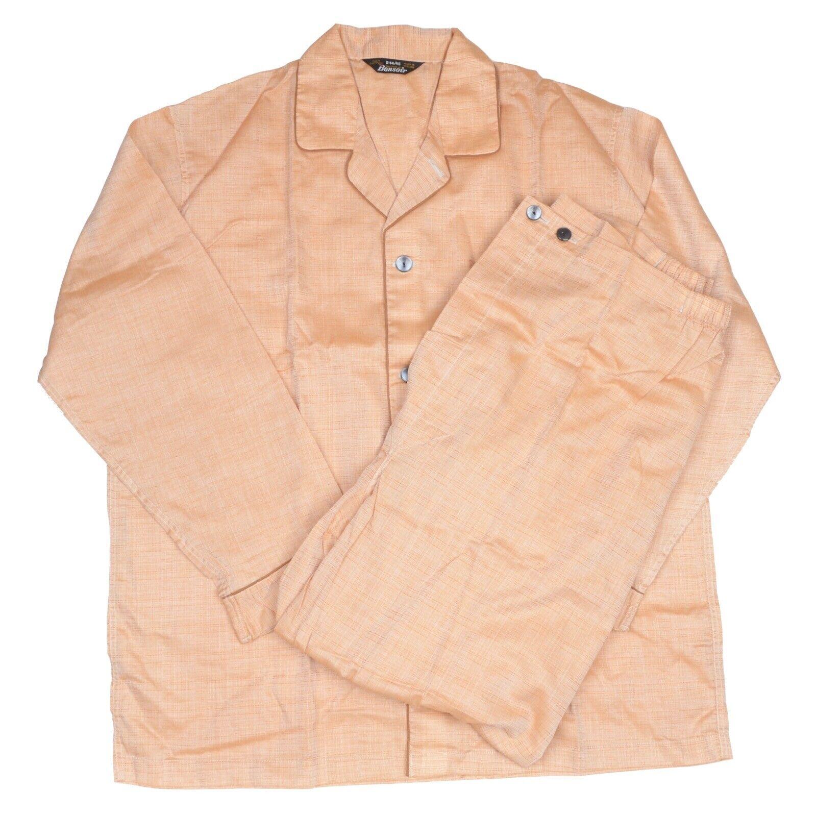 NEU Vintage Bonsoir Pyjamas Gr D44 45 XL Made in England Orange Baumwolle baumwolle