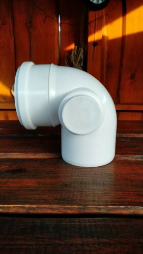 110mm Soil Pipe Elbow 90° 50mm Right Inlet and Plug WC Toilet Waste White Wide
