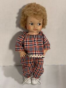 Vintage-1967-EEGEE-Doll-Plaid-Outfit-Curly-Hair