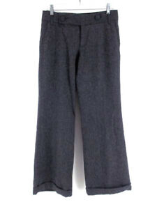 BANANA-REPUBLIC-Wide-Leg-Dress-Pants-Gray-Herringbone-Wool-Womens-Sz-4-Short