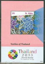 ST. KITTS 2014 TEXTILES OF THAILAND  COMEMMORATING WORLD EXPO 2013 S/S  MINT NH