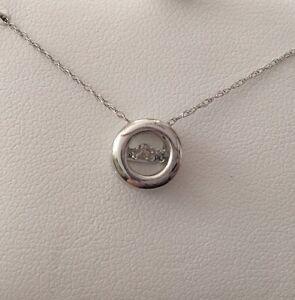 10k white gold floating dancing diamond circle pendant necklace ebay la foto se est cargando 10k oro blanco diamante circulo colgante collar de aloadofball Choice Image