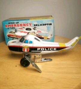 Vintage-Toy-Hero-Japan-Windup-Emergency-Police-Helicopter-Tin