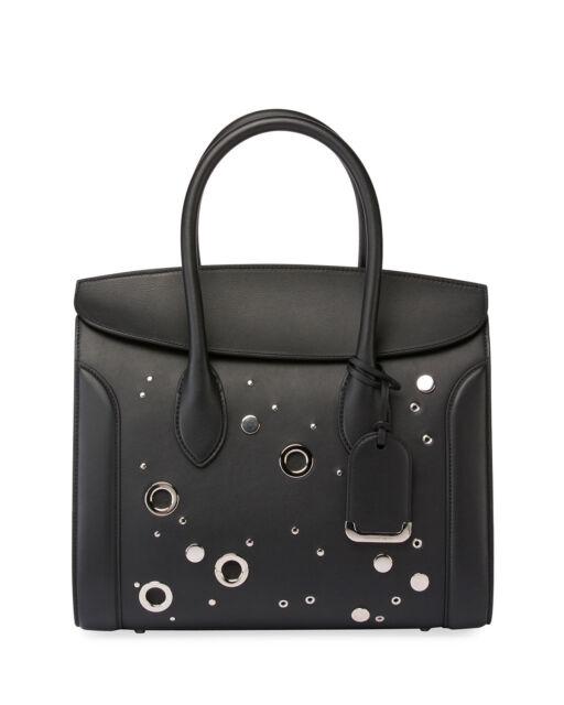Alexander McQueen Heroine 35 Studded Leather Shopper Tote Bag Black  2790 a0acf70e83513
