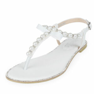 97a03f862f6f Details about SheSole Womens Flat Sandals Flip Flops Beach Wedding Shoes  Pearl T-strap White