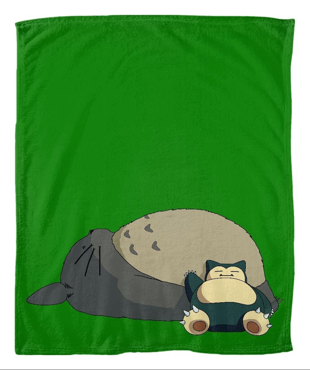 Nap Buddies anime video game throw blanket - Ghibli's Totgold & Pokemon's Snorlax