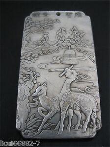 Old Chinese tibet Silver dragon teaches his son Bullion thanka amulet thangka