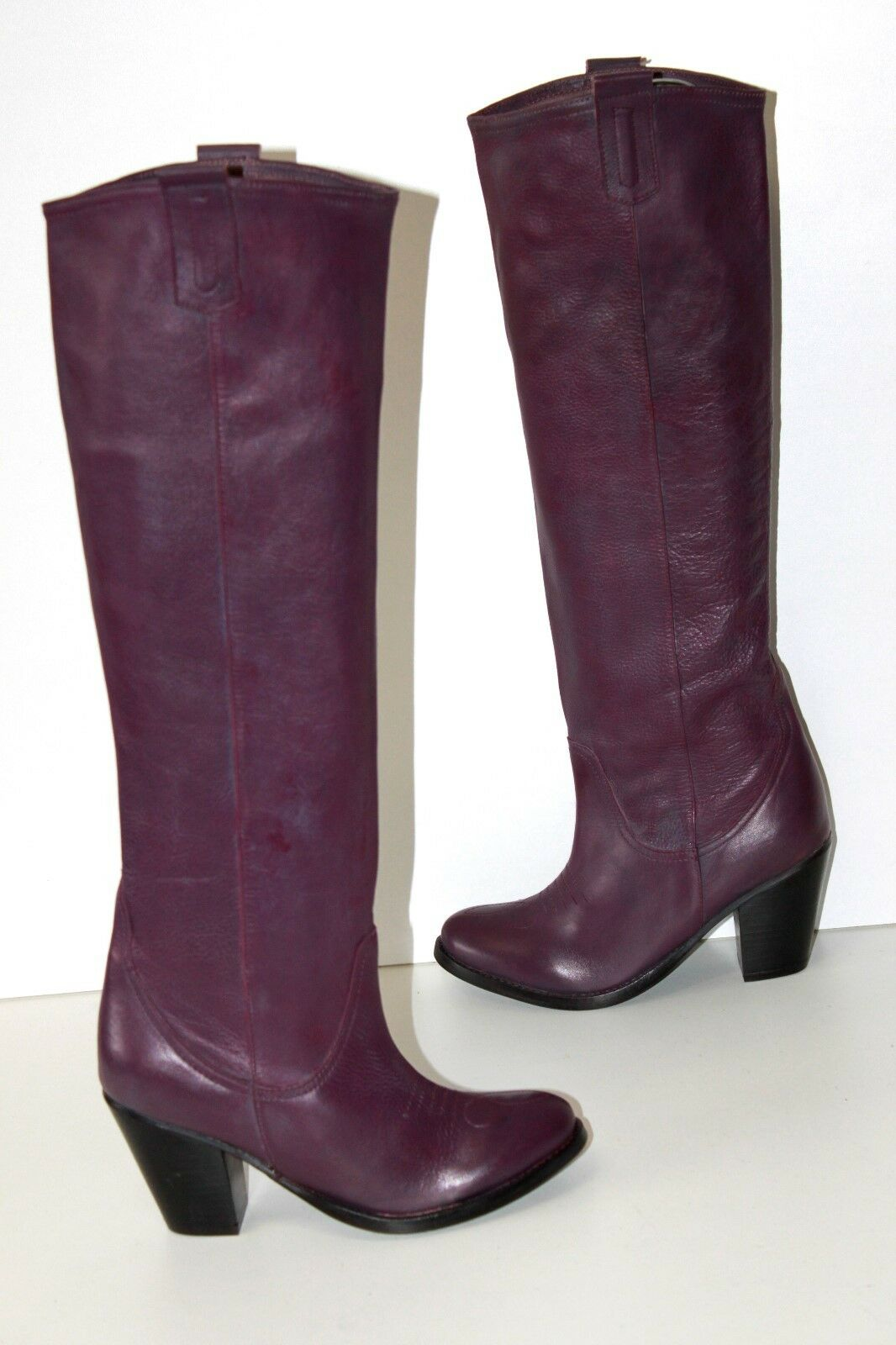DELPOL Riding Boots heels Leather Flexible Purple T 38 MINT
