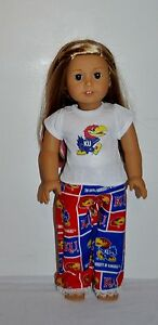 AMERICAN-MADE-DOLL-CLOTHES-FOR-18-INCH-GIRL-DOLLS-DRESS-LOT-KANSAS-JAYHAWKS-PJS