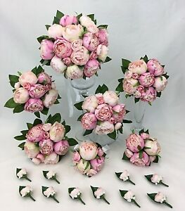 Image Is Loading Light Pink Peony Artificial Silk Flowers Wedding