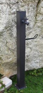Fontana-Fontanella-Esterno-Punto-Acqua-Quadrato-Metallo-14x14x100H-Cm-Antracite