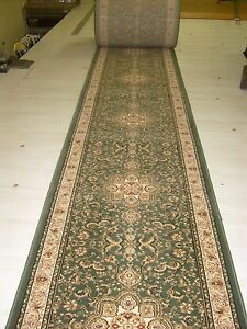 Image Is Loading TERRA WOVEN Floral Green Premium Carpet Rug Stair