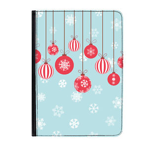 Christmas-Baubles-amp-Snowflakes-Classic-Universal-9-10-1-034-Leather-Flip-Case-Cover