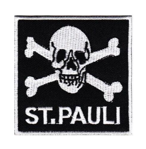 bg30 Totenkopf ST Pauli Aufnäher Skull Patch Bügelbild Applikation 7,0 x 7,0 cm