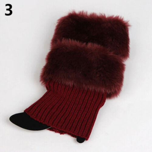 Hot Fashion Womens Crochet Knit Fur Trim Leg Warmers Cuffs Toppers Boot Socks
