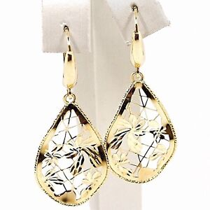 DROP-EARRINGS-YELLOW-GOLD-750-18K-DROPS-UNDULATED-FLOWERS-WORKED