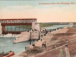 Postcard-St-Andrews-Locks-Winnipeg-Manitoba-Canada-Postcard-Vintage-Dam-R01