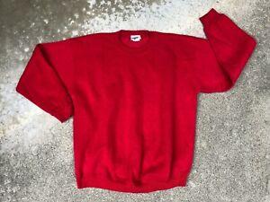Lee Poids Lourd Homme Vintage Années 90 Rouge Épais Sweatshirt Col Rond | Xl