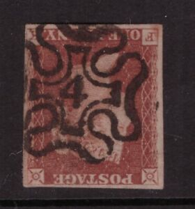 "1841 1d Penny Red Imperforate SG 8m ""NUMBER 4 IN MALTESE CROSS""  FK, 4 margins"