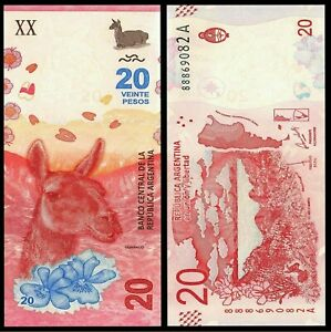 Argentina-20-Pesos-ND-2017-New-Serie-A-Guanaco-UNC