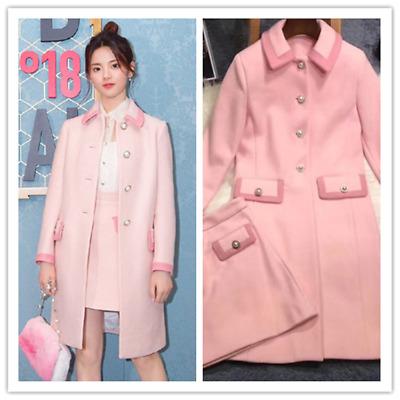 new Pink Wool Midi Coat A-line Skirt New Fashion Occident Women Hotsale Suits