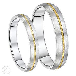 His-amp-Hers-Brosse-Titane-amp-9-CT-or-anneaux-de-mariage-ensemble-4-amp-5-mm