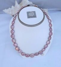 """GORGEOUS  HONORA 12-16MM  ROSE  COIN PEARL NECKLACE  18""""   POUCH AND BOX"""
