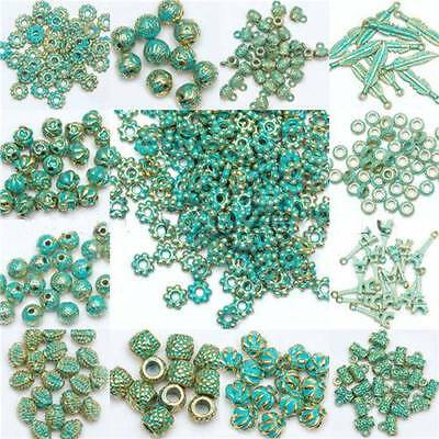 Green Retro Tibet Beads Spacer Beads Caps For Jewelry Making European Bracelet