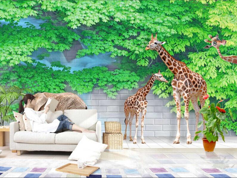 3D Lush Leaf Giraffe Paper Wall Print Decal Wall Wall Murals AJ WALLPAPER GB